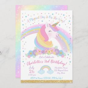 Unicorn Birthday Invitation, Unicorn Party Invite