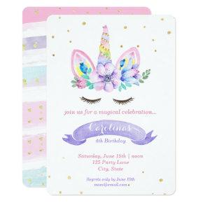 Unicorn Birthday Invitation - Watercolor