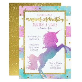 Unicorn Birthday Invitations | Watercolor Glitter