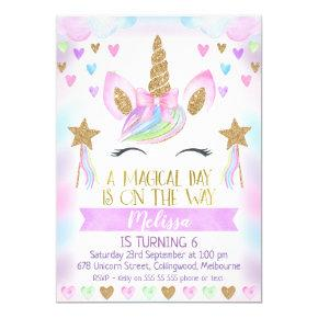 Unicorn Birthday Invitation With Glitter