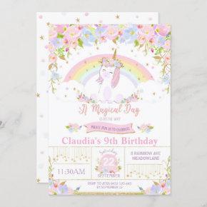 Unicorn Birthday Party Invitation Floral Rainbow