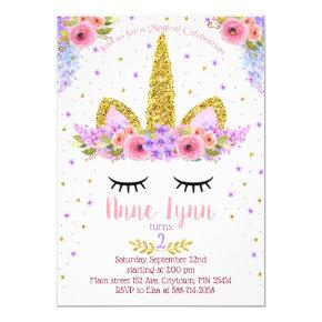 Unicorn Birthday party invitation purple and pink