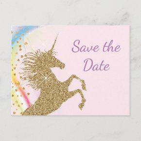 Unicorn Birthday Party Save The Date PostInvitations