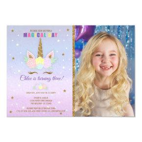 Unicorn Birthday Photo Invitation Pink Purple Gold