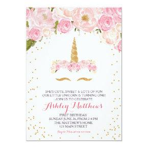 Unicorn birthday pink Beautiful Floral Invitation, Invitation
