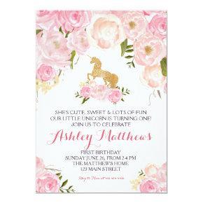 Unicorn birthday pink Beautiful Floral Invitation, Invitation