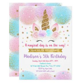 Unicorn Birthday Pink Gold Rainbow Invitation
