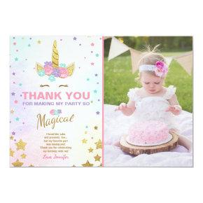Unicorn Birthday Thank you card Pink Gold Magical