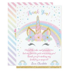 Unicorn Birthday Thank You Card, Unicorn Party Card