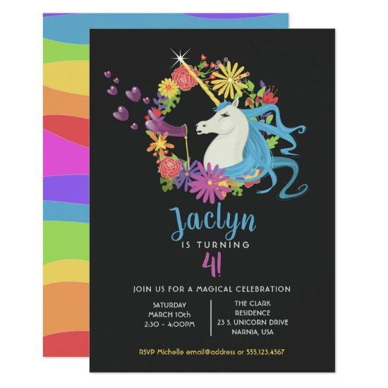 unicorn bubbles birthday party invitations candied clouds
