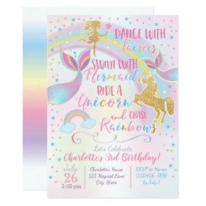 Unicorn Fairy Mermaid Birthday Magical Invitations