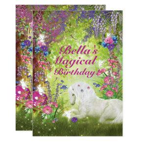 Unicorn Fairy Woodland Birthday Party Invitations