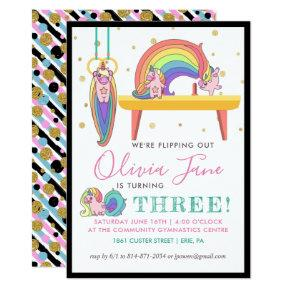 Unicorn Gymnastics Birthday Party Invitation