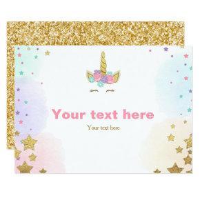 Unicorn Insert card Birthday shower Pink Gold Girl