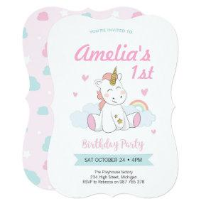 Unicorn invitations, Unicorn birthday invitations