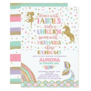 Unicorn Mermaid And Fairy Birthday Invitations