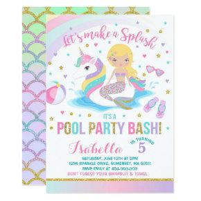 Unicorn & Mermaid Pool Party Birthday Invitations