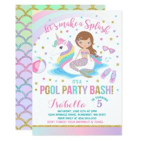 Girl In Unicorn Pool Float Kids Birthday Party Invitations Candied