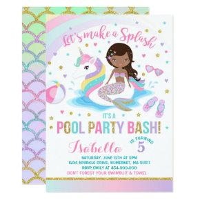 Unicorn & Mermaid Pool Party Birthday Invitations