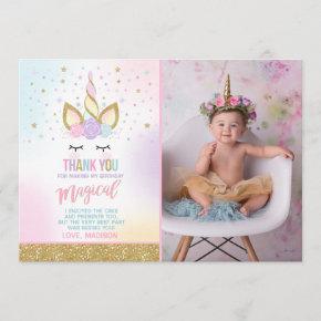 Unicorn Photo Thank You Card Pink Gold Unicorn