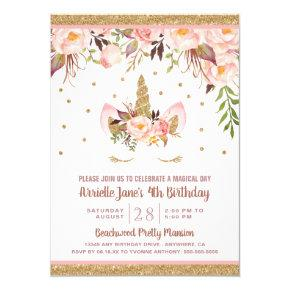 Unicorn Pink and Gold Birthday Party Invitations