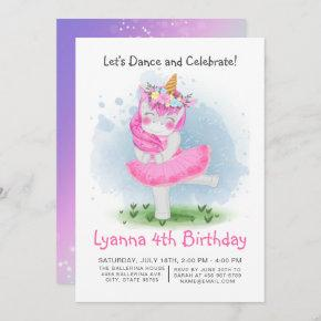Unicorn Pink Ballerina Watercolor Floral Birthday Invitation