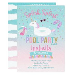 Unicorn Pool Party Birthday Invitations Pink Gold