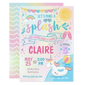 Unicorn Pool Party Invitation, Pool Bash Birthday Invitation