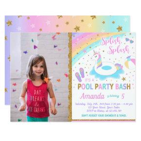 Unicorn Pool Party Photo Invitation Pink & Gold