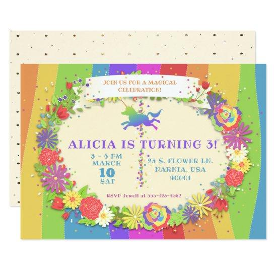 Unicorn Rainbow Carousel Birthday Party Invitation Candied Clouds