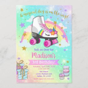Unicorn Roller Skate Birthday Invitation