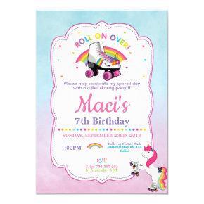 Unicorn Roller Skating Birthday Party Invitation