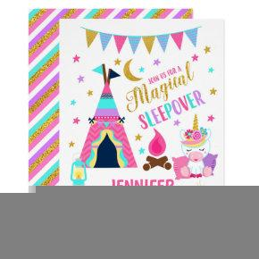 Unicorn Sleepover Party Birthday Invitation