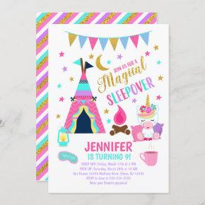 Unicorn Sleepover Party Birthday Invitation