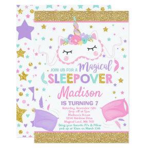 Unicorn Sleepover Party Invitations Slumber Party