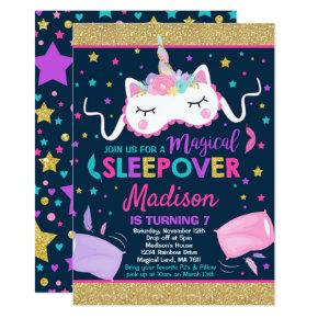 Unicorn Sleepover Party Invitations Slumber Party