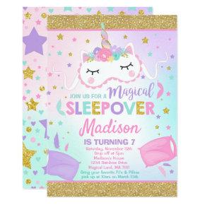 Unicorn Sleepover Party Invitation Slumber Party