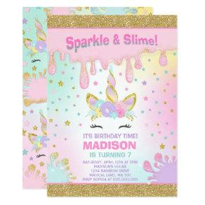 Unicorn Slime Birthday Invitations Slime Party