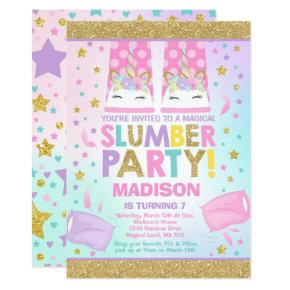 Unicorn Slumber Party Birthday Invitations