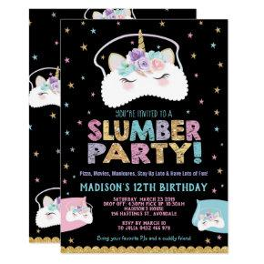 Unicorn Slumber Party Birthday Invitation Pajama