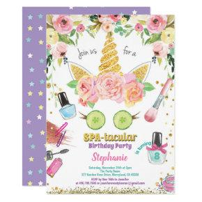 Unicorn spa party birthday invitation watercolor
