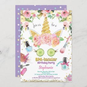 Unicorn spa party birthday invitation watercolor