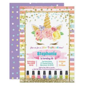 Unicorn spa party girl birthday pastel rainbow invitation