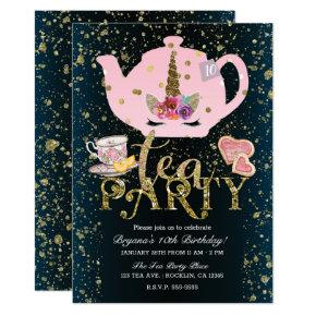 Unicorn Tea Party Gold Glitter Pink Girls Birthday Invitation