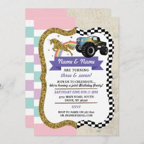 Unicorn & Truck Joint Boy Girl Birthday Invites
