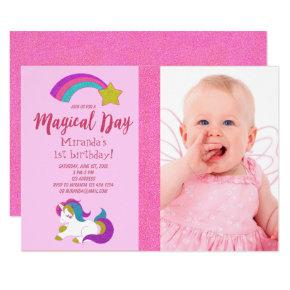 Unicorn with photo birthday party Invitations