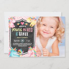 Unicorn Young Wild & Three Birthday Party Photo Invitation