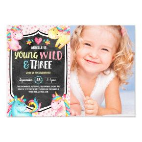 Unicorn Young Wild & Three Birthday Party Photo Invitation
