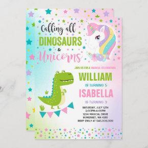 Unicorns And Dinosaurs Birthday Invitation Magical