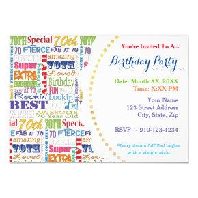 Unique And Special 70th Birthday Party Gifts Invitations
